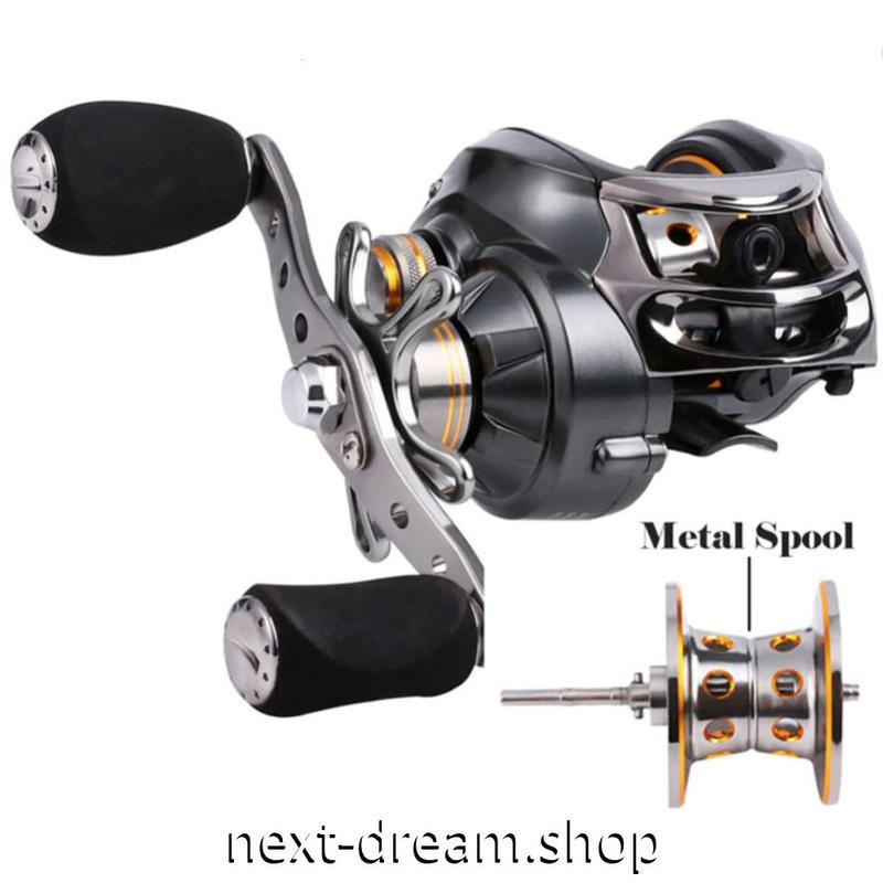 新品 ベイトリール 釣り道具 お洒落 フィッシング  黒×オレンジゴールド 右ハンドル 左ハンドル m01970