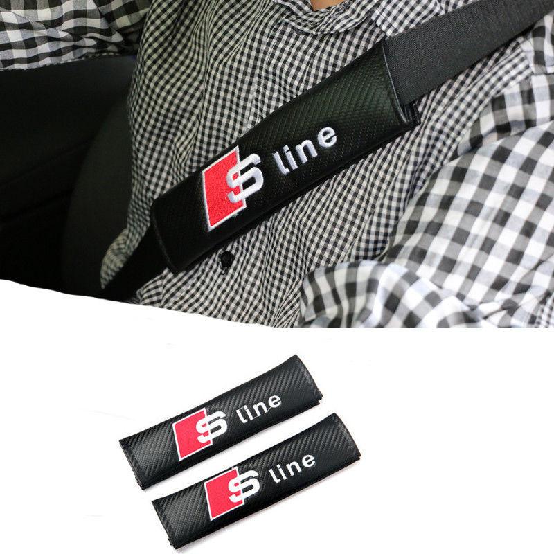 アウディ シートベルトパッド 2個入 カーボンファイバー RS Sline Audi A1 A3 A4 A6 A8 TT Q3 Q5 Q7 h00363