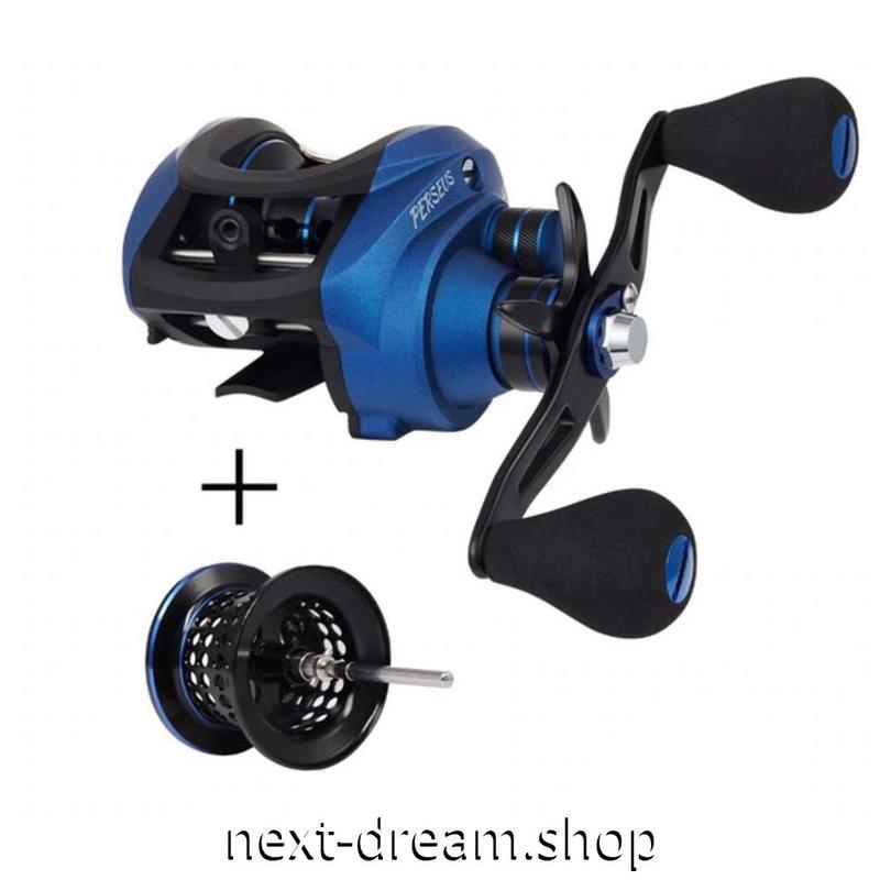 新品 ベイトリール 釣り道具 お洒落 フィッシング 磁気 遠心ブレーキ 黒×青 右利き 左利き ハンドル m01935