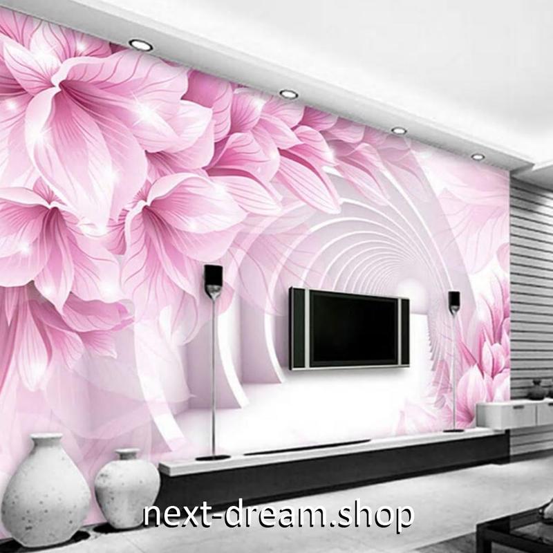 3D 壁紙 1ピース 1㎡ 立体空間 モクレンの花 近未来 DIY リフォーム インテリア 部屋 寝室 防湿 防音 h03225