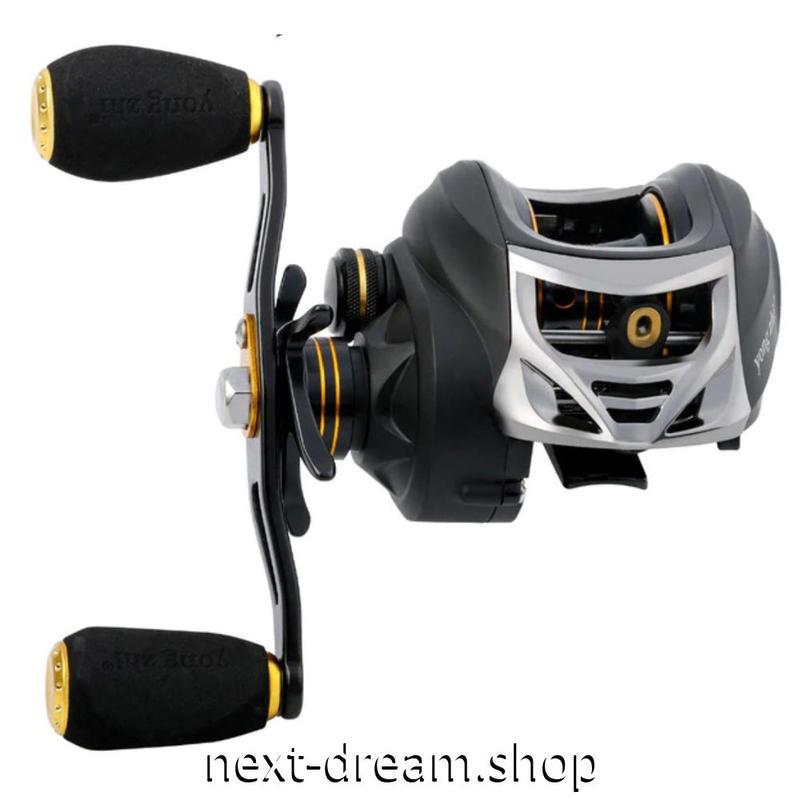 新品 ベイトリール 釣り道具 お洒落 フィッシング  高速 黒×シルバー×ゴールド 海水 低音 右 左利き ハンドル m01980