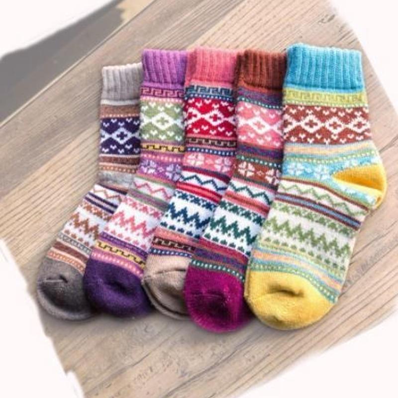 5組 靴下 ラビットウールソックス 厚手 22~25cm 森ガール スノボ スキー ウォーキング  jj35