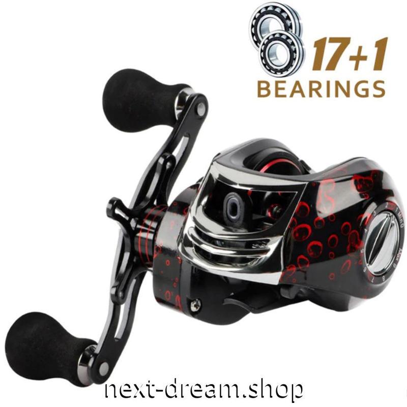 新品 ベイトリール 釣り道具 お洒落 フィッシング  黒×赤 高速 右ハンドル 左ハンドル m01972