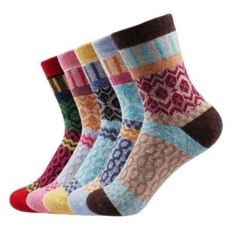 5組 カシミヤ靴下 暖かいラビットウールソックス 厚手 登山 冬用 ウォーキング 23~26cm 0041