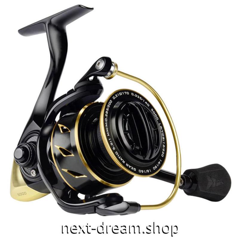 新品 リール 釣り道具 フィッシング スピニング 低音 高性能ベアリング 黒×金 1000 / 2000 / 3000 / 4000 / 5000番 m01916
