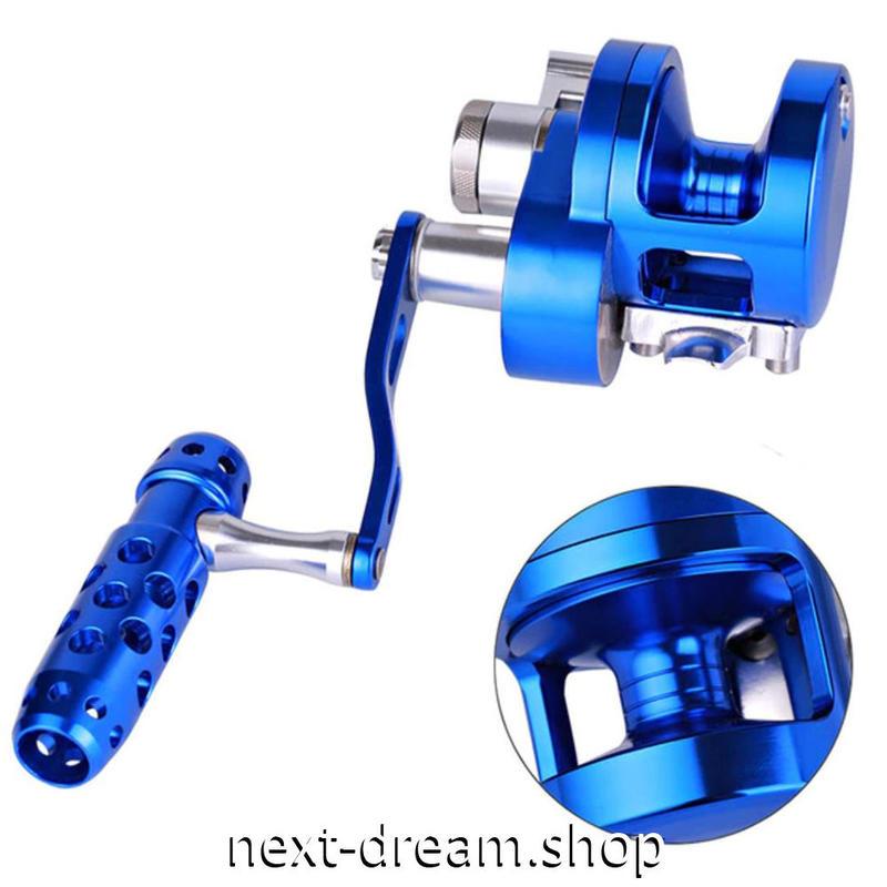 新品 ベイトリール 釣り道具 お洒落 金属 フィッシング  トローリングドラム シルバー×青 低音 右ハンドル 左ハンドル m01957