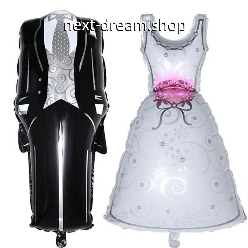 デコレーション風船 新郎新婦 ウェディングドレス   飾り 結婚式 二次会 イベント パーティ  ふうせん バルーン ヘリウム   m01251
