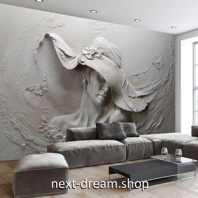 3D 壁紙 1ピース 1㎡ 女性 彫刻 立体アート DIY リフォーム インテリア 部屋 寝室 防湿 防音 h03123
