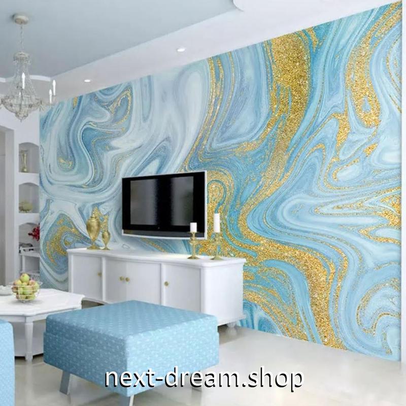 3D 壁紙 1ピース 1㎡ アート マーブル 青×金 DIY リフォーム インテリア 部屋 寝室 防湿 防音 h03119