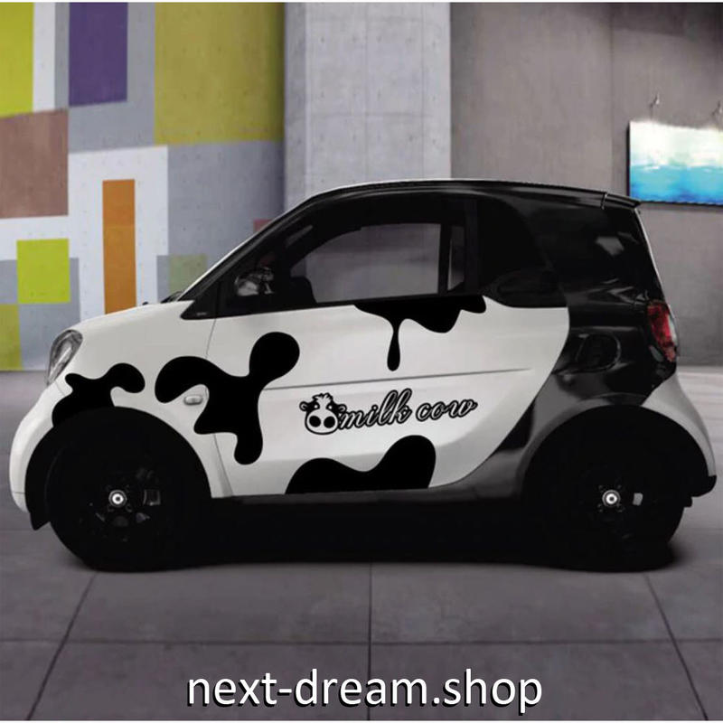 ステッカー デカール ベンツ SMART用 スマート 牛柄 ロゴ 外装 サイドドア ボディ 黒 自動車 カースタイリング m02028