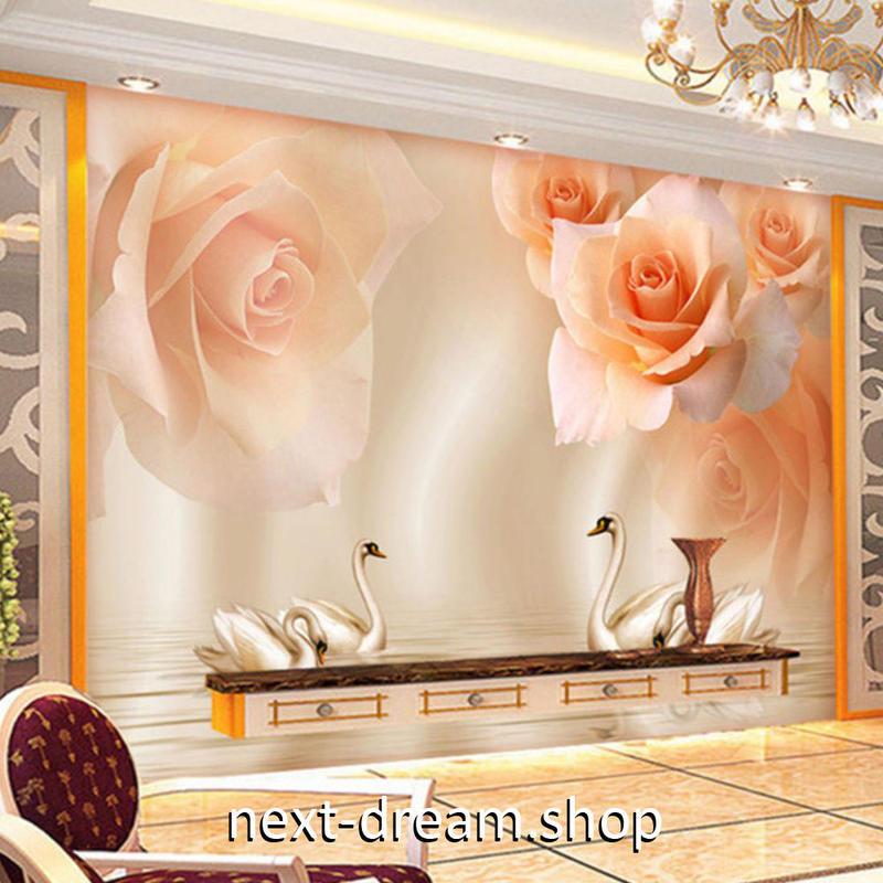 3D 壁紙 1ピース 1㎡ ピンクオレンジ 薔薇 白鳥 DIY リフォーム インテリア 部屋 寝室 防湿 防音 h03129