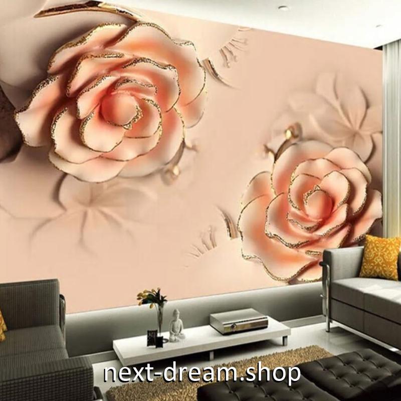 3D 壁紙 1ピース 1㎡ ヨーロピアンスタイル 薔薇 立体 DIY リフォーム インテリア 部屋 寝室 防湿 防音 h03122