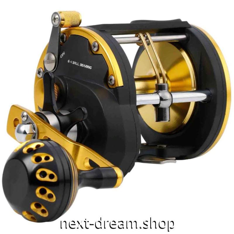 新品 ベイトリール 釣り道具 お洒落 フィッシング トローリング 6 + 1BB  黒×オレンジゴールド 右手 ハンドル m01953