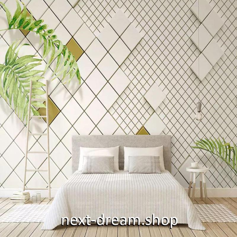 3D 壁紙 1ピース 1㎡ タイル 観葉植物 チェック DIY リフォーム インテリア 部屋 寝室 防湿 防音 h03243