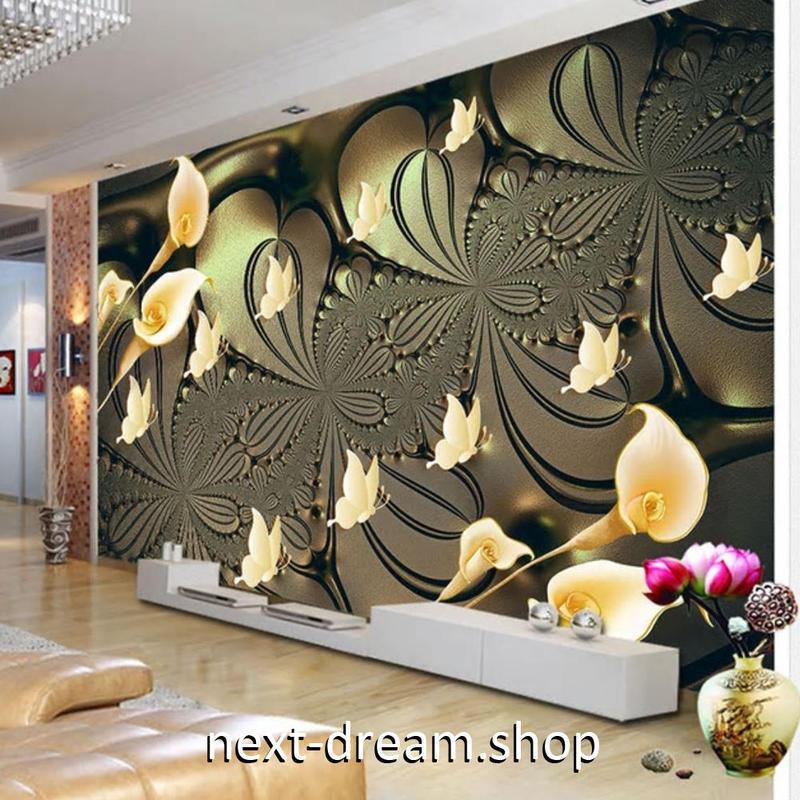 3D 壁紙 1ピース 1㎡ 百合の花 モダンアート 蝶々 DIY リフォーム インテリア 部屋 寝室 防湿 防音 h03125