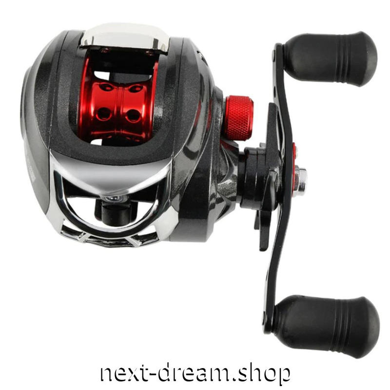 新品 ベイトリール 釣り道具 お洒落 フィッシング  高速 黒×赤 左/右手ルアー釣り ハンドル m01982