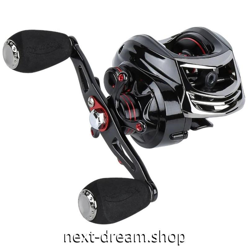 新品 ベイトリール 釣り道具 お洒落 フィッシング  高速 黒×赤 デュアルブレーキシステム 右 左利き ハンドル m01979