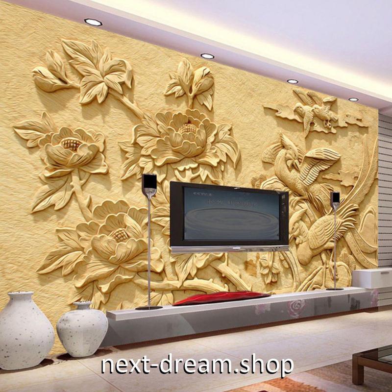 3D 壁紙 1ピース 1㎡ 彫刻デザイン 蓮の花 鳥 DIY リフォーム インテリア 部屋 寝室 防湿 防音 h03226