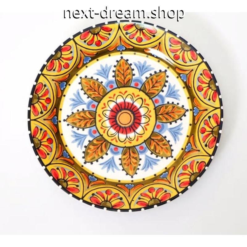 新品送料込 皿 セラミック 食器 花葉 イエローオレンジ メキシコ農村スタイル 高級 おしゃれ 00823