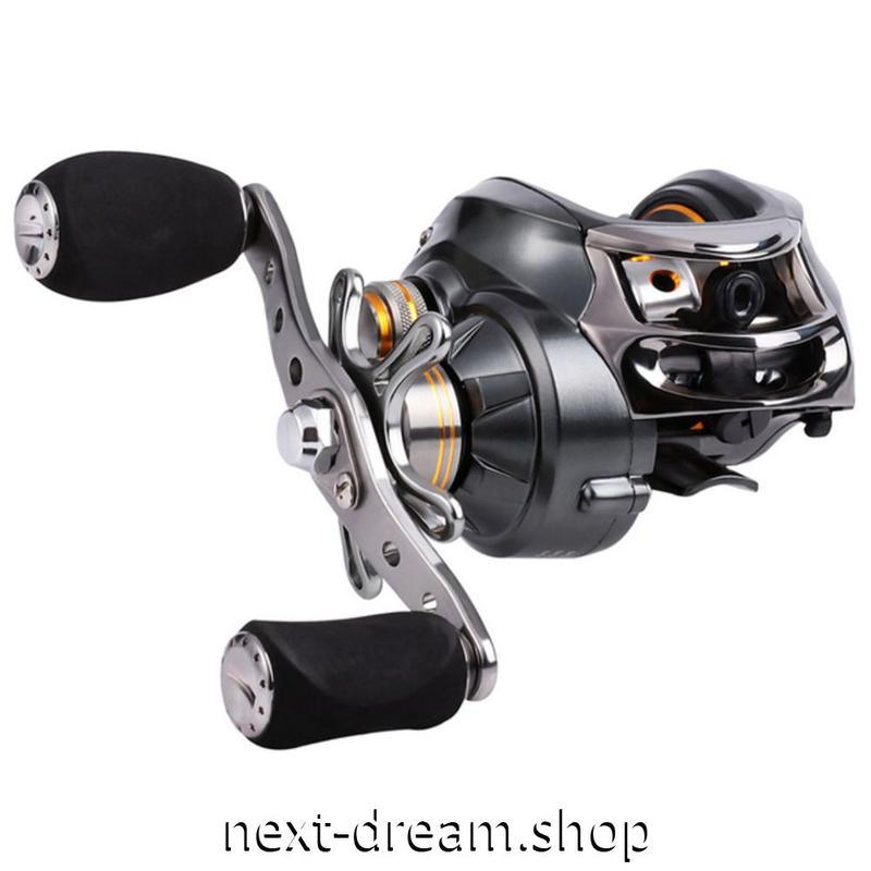 新品 ベイトリール 釣り道具 お洒落 フィッシング  黒×オレンジゴールド 高速 右ハンドル 左ハンドル m01973