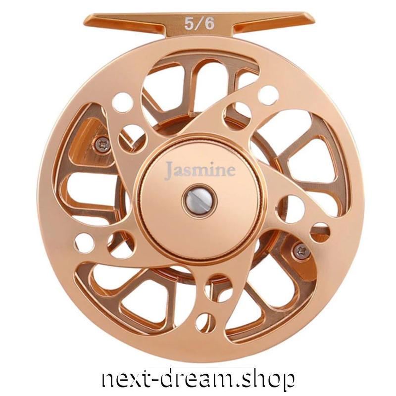 新品 フライリール 釣り道具 お洒落 フィッシング スプール ドラグ  ベージュゴールド 5/6 魚 m01988