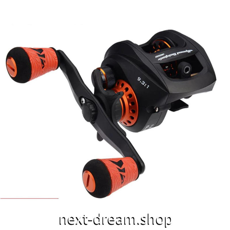 新品 ベイトリール 釣り道具 フィッシング 9.3: 1 ギア比 黒×オレンジ 超軽量 炭素繊維 右ハンドル 左ハンドル m01918