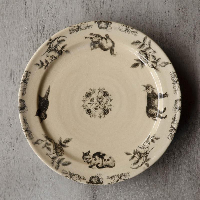 猫とお花のお皿-2