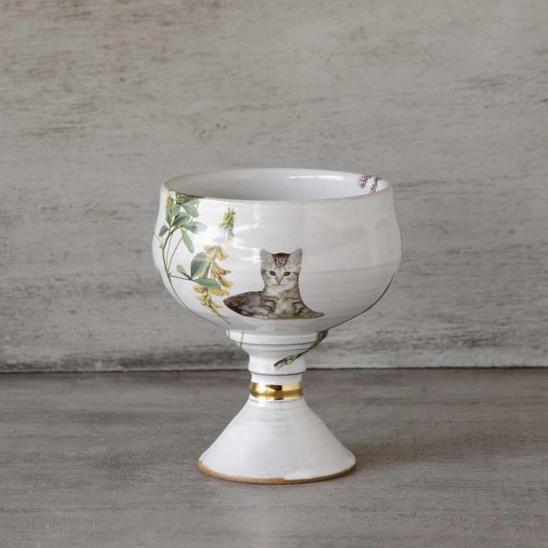 野花と子猫のワイングラス-1