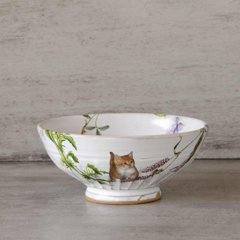 野花と子猫のお茶碗-1