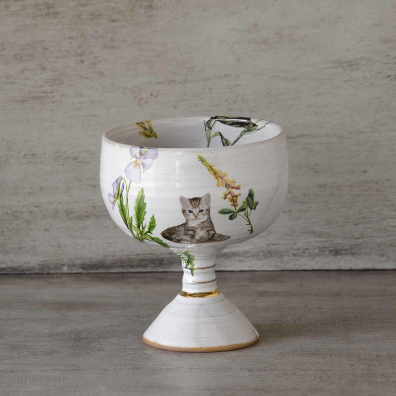 野花と子猫のワイングラス-2