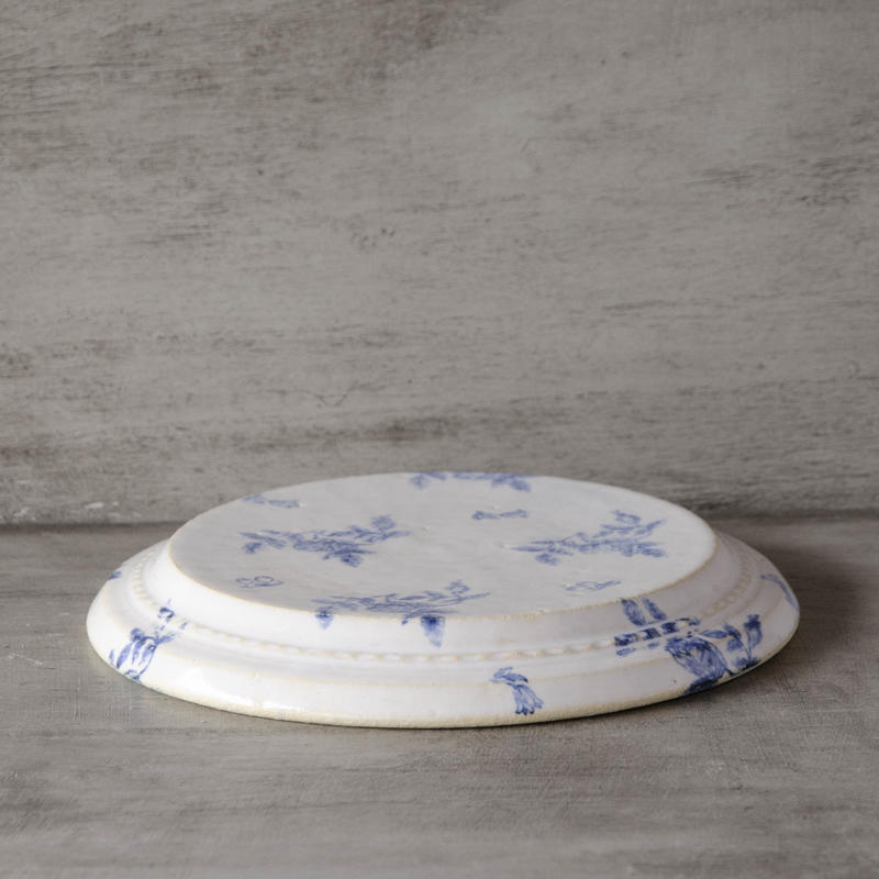 青いお花の島皿