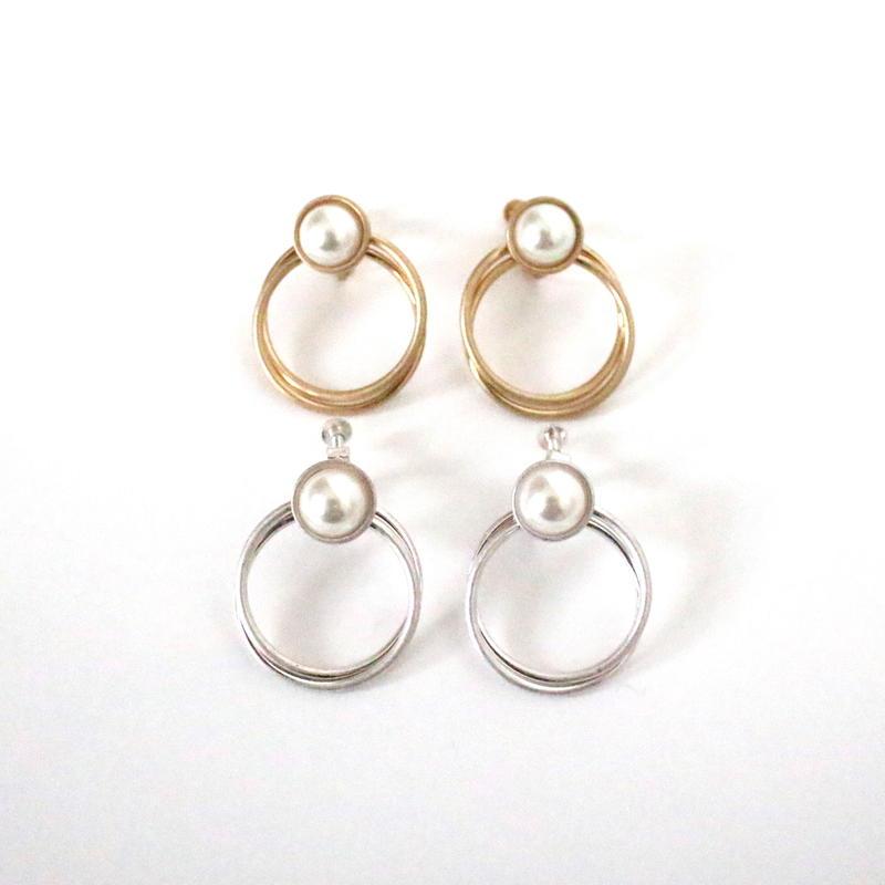 Pearl & Circle earring