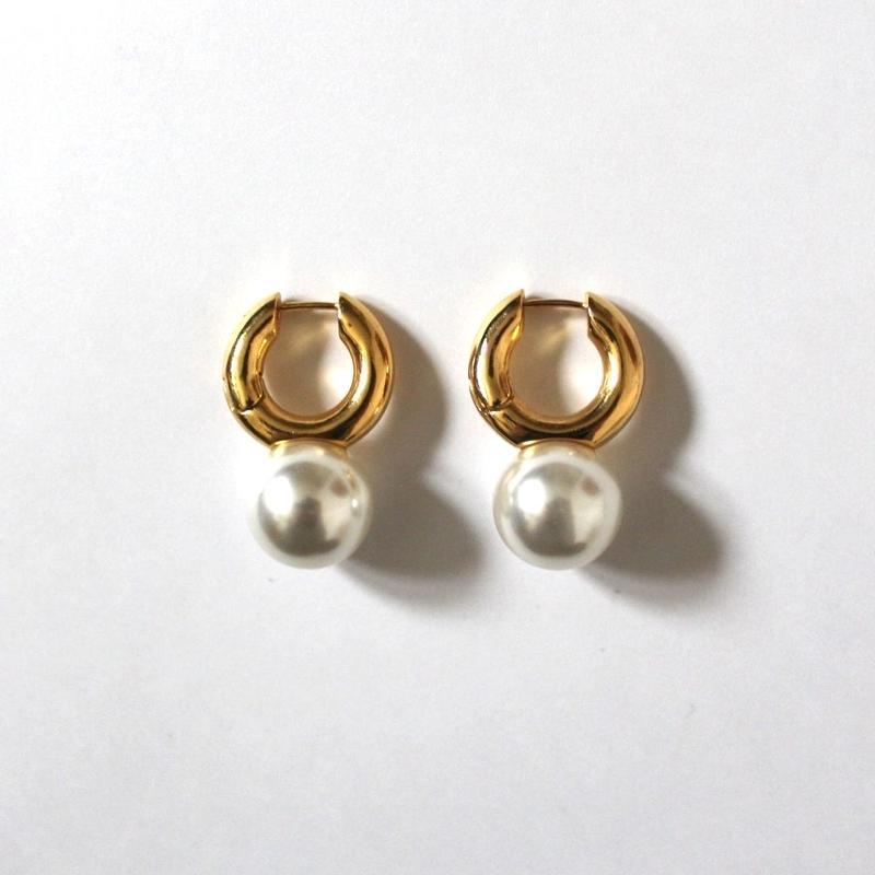 Circle & Pearl Gold pierce