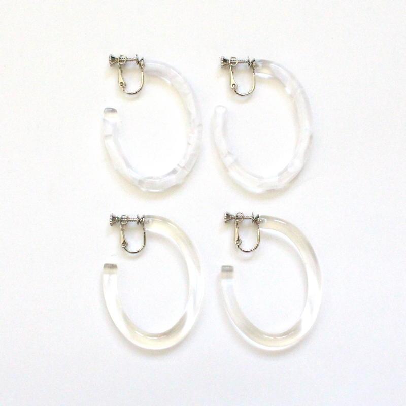 Clear Oval Hoop earring