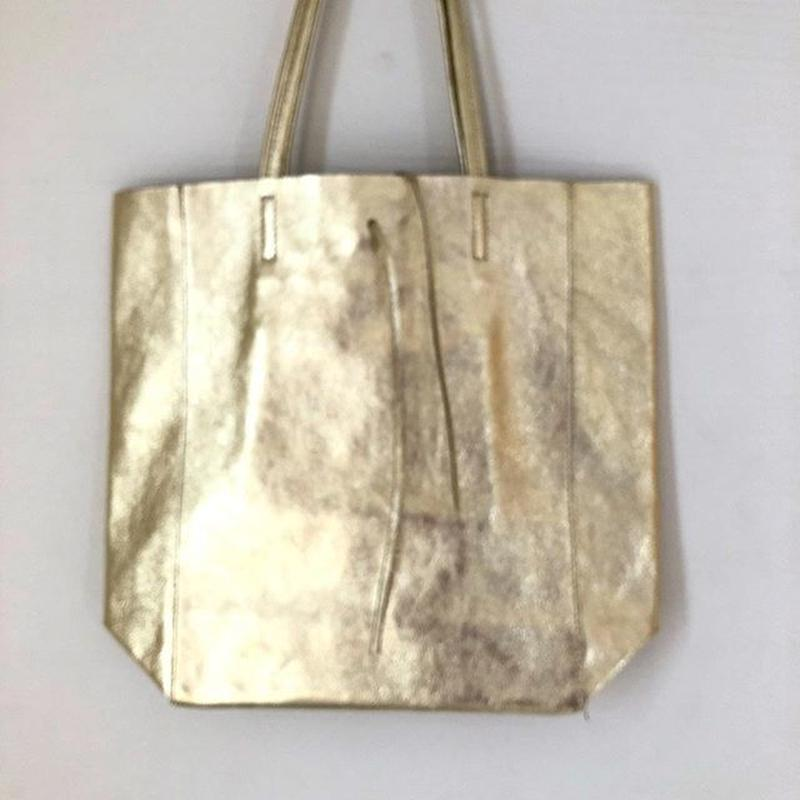 Italian Leather shiny metallic tote bag イタリアン レザーメタリック シャイニートートバッグ M サイズ