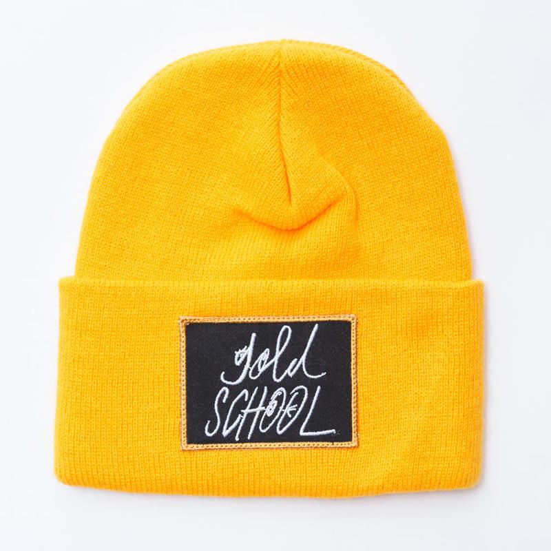 gold school logo knit cap