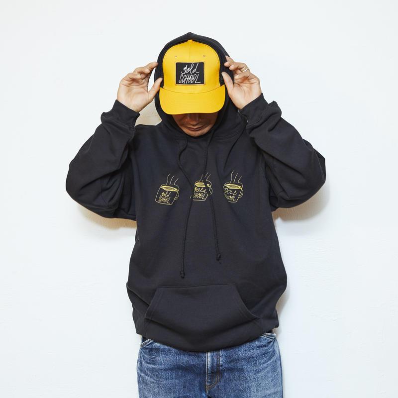 gold school  coffee cup hoodie black