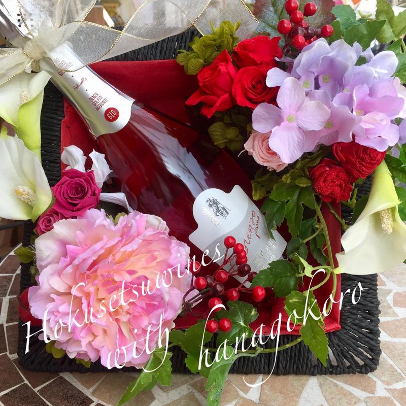 フラワー&ワインギフトBOX /プリザーブドフラワー/開店祝い/新築祝い/ご就職/ご結婚/お誕生日/その他様々なお祝いに