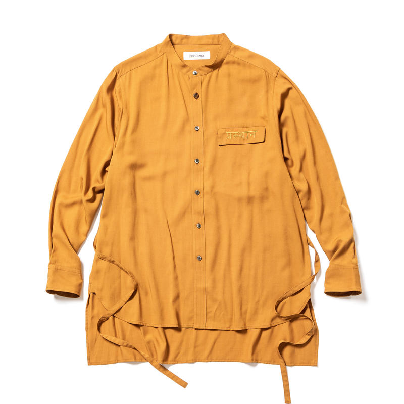strings band collar shirt