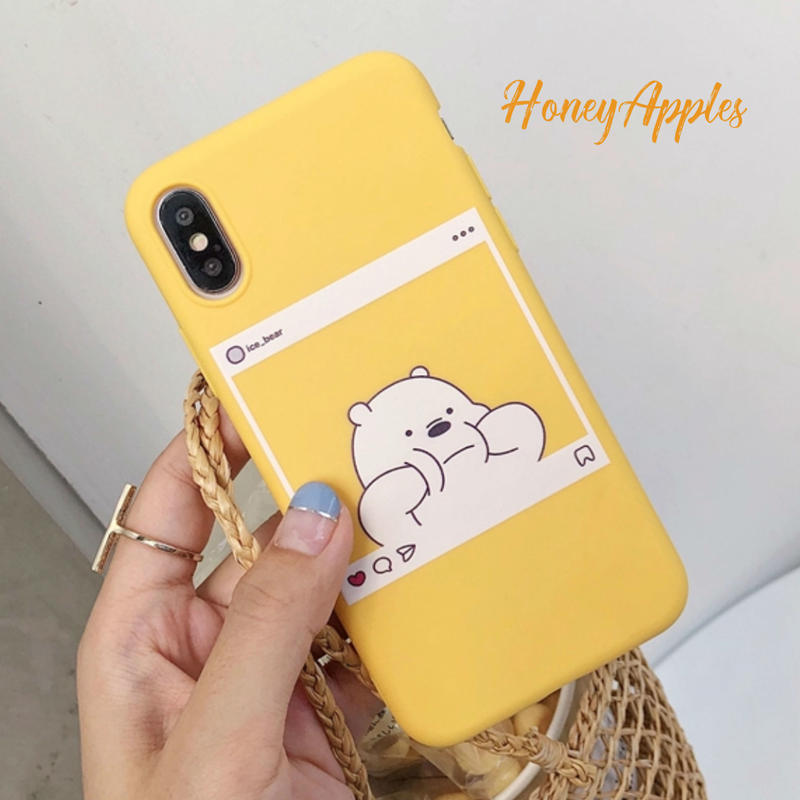 BARE BEARS [ アイスベア ] iPhoneケース Yellow Instagram風 ソフトTPU 新機種対応