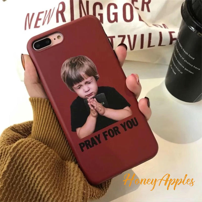 [ PRAY FOR YOU ] iPhoneケース ワインレッド 男の子 少年 TPU