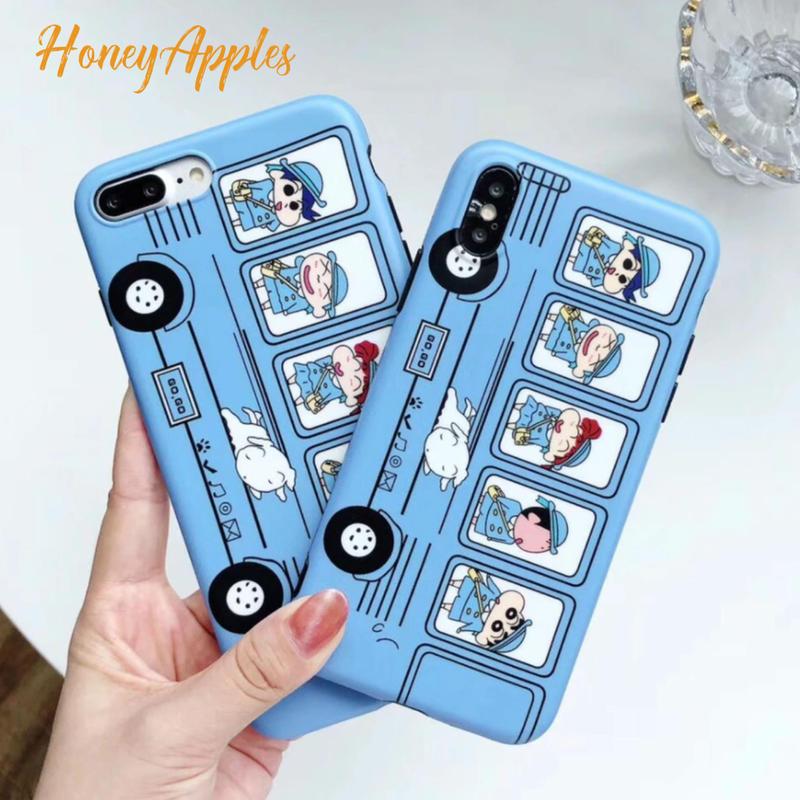 クレヨンしんちゃん スクールバス ライトブルー iPhoneケース TPU