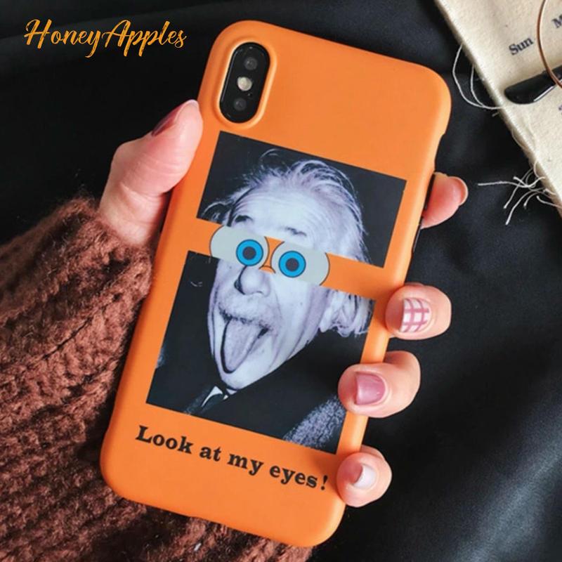 アインシュタイン [ Look at my eyes! ]  iPhoneケース ユニークデザイン TPU イエロー