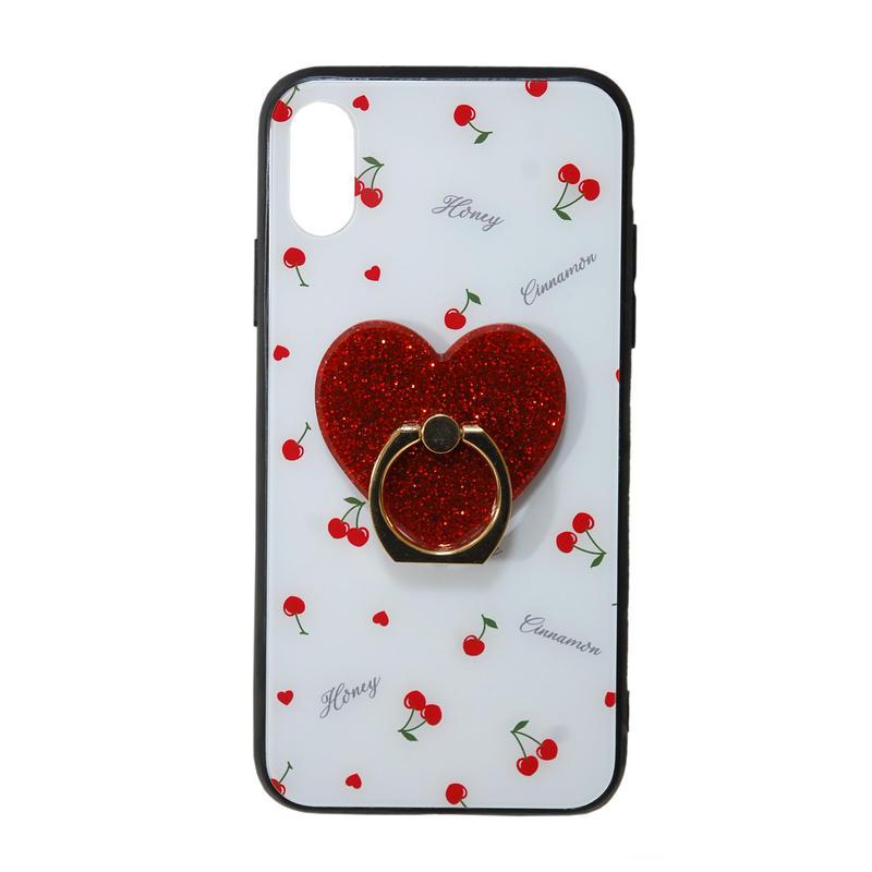 192BC0516 リング付きチェリーiPhoneX/XSケース
