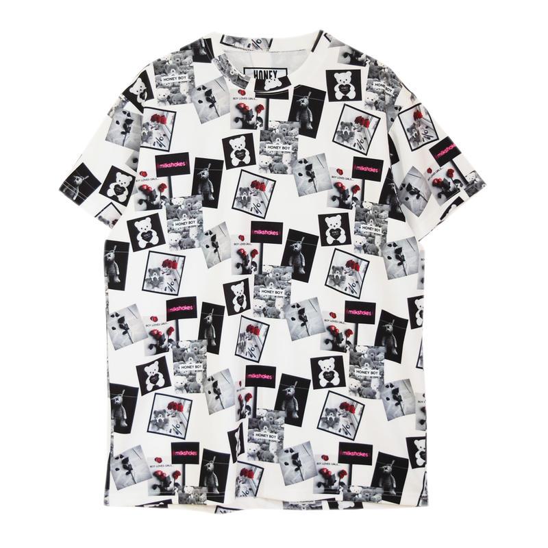 191CS0309<Unisex>ボックス総柄ジャージTシャツ