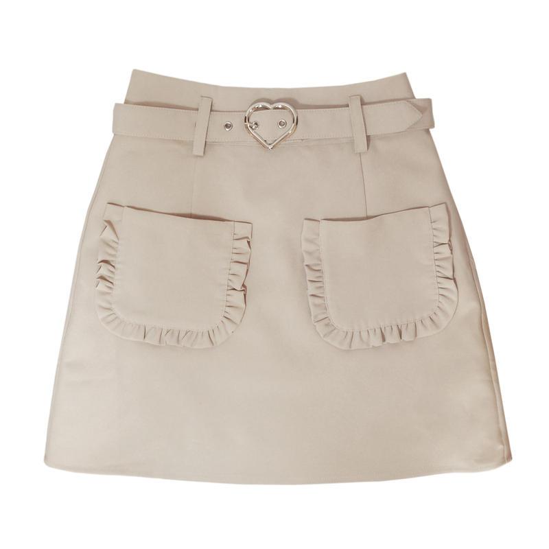 191SK0103 【再入荷】ハートバックル台形スカート