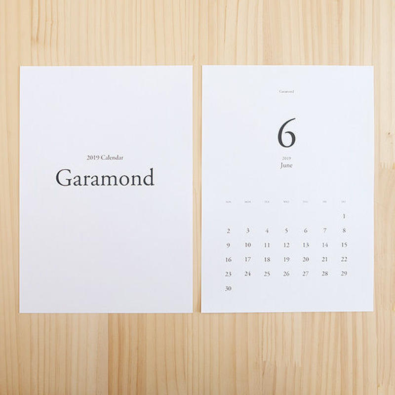 美しいフォントで綴るカレンダー2019[Garamond]