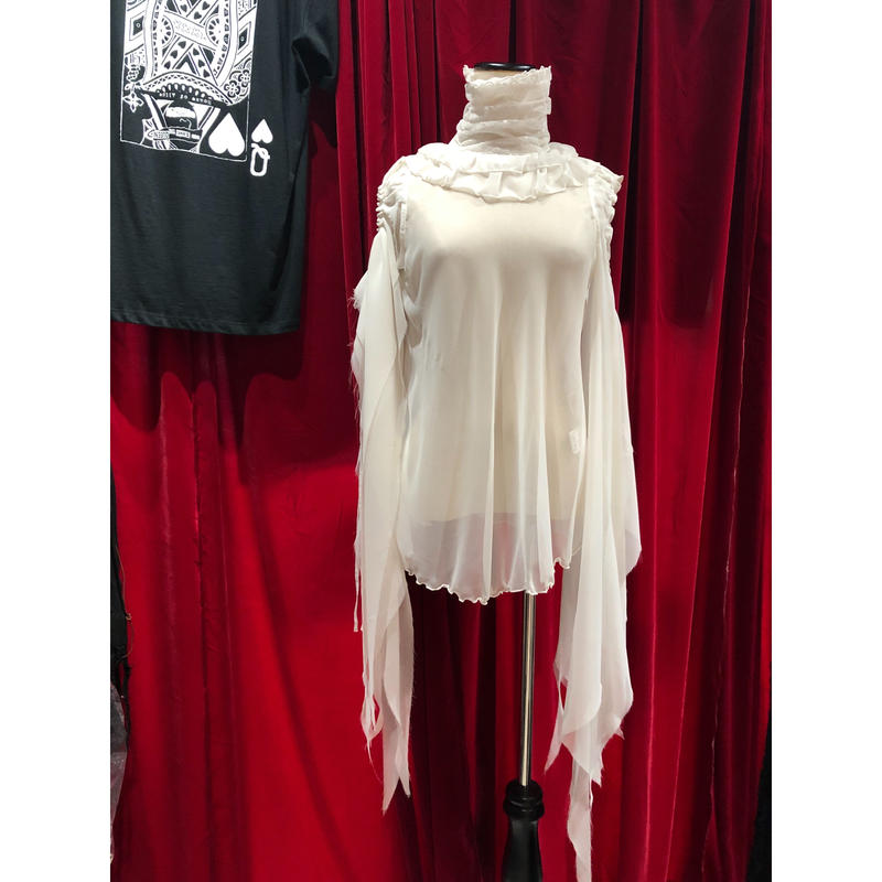 ladies /chiffon stand collar White blouse