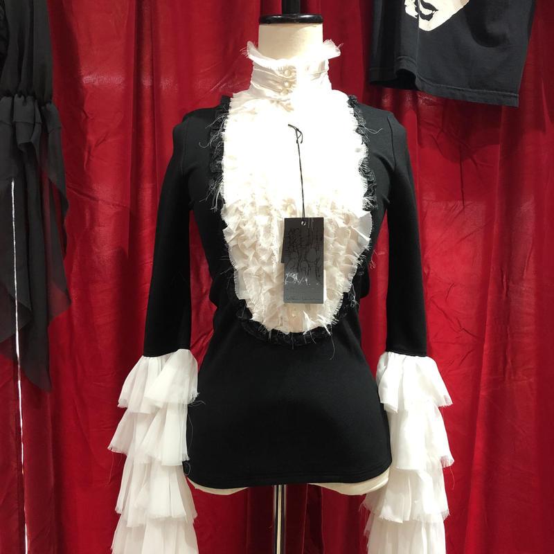 white chiffon frill & black jersey blouse