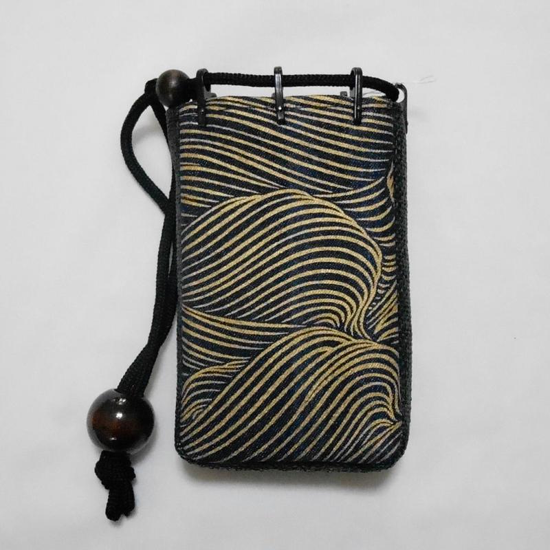 デニム濃紺製 モバイルケース(煙草入れ)大 波 金